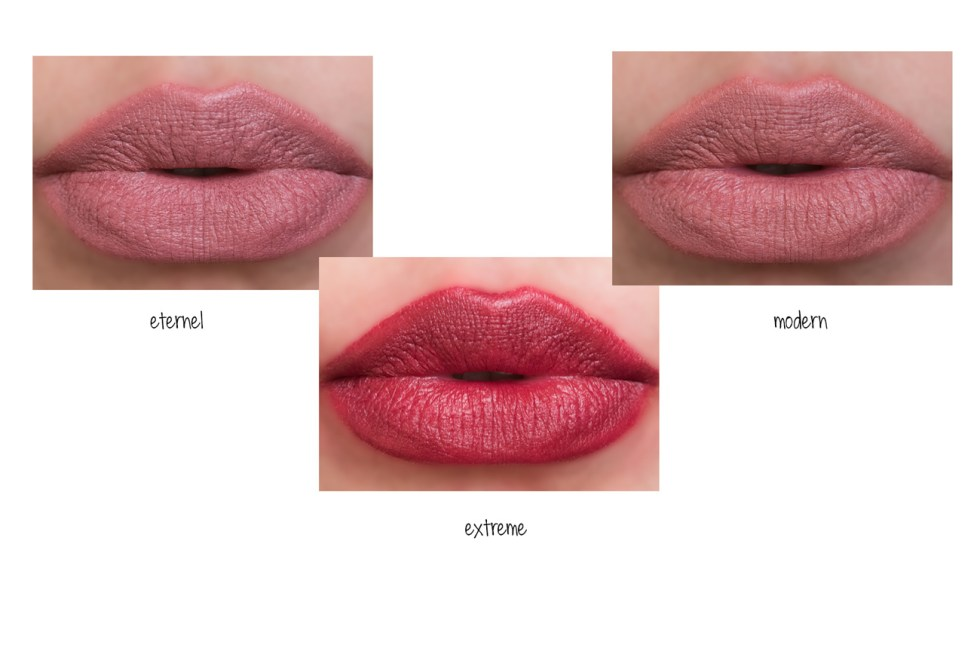 chanel rouge allure velvet extreme in eternel, modern and extreme lipstick swatch