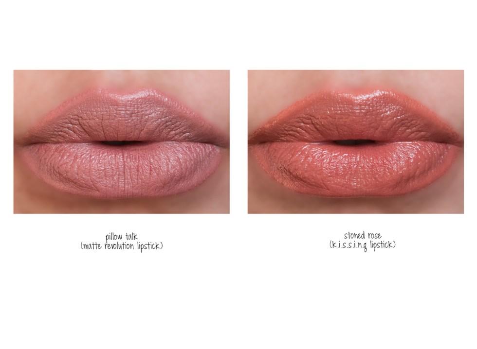 charlotte tilbury matte revolution lipstick in pillow talk swatch
