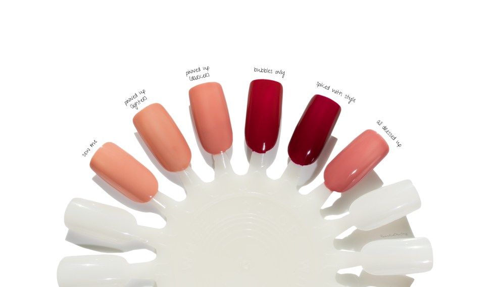 essie gel couture nail polish in sew me, all dressed up, spiked with style, bubbles only, pinned up swatches