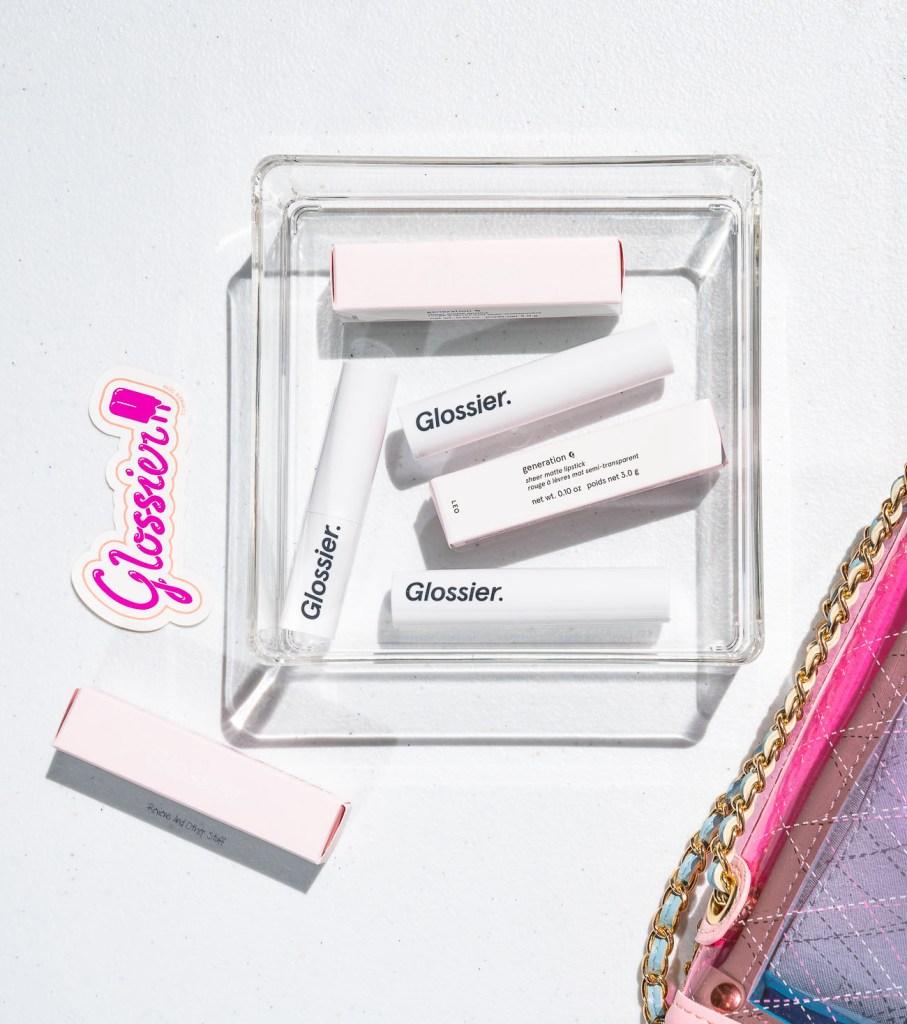 glossier generation g sheer matte lipstick new formula jam, leo, like