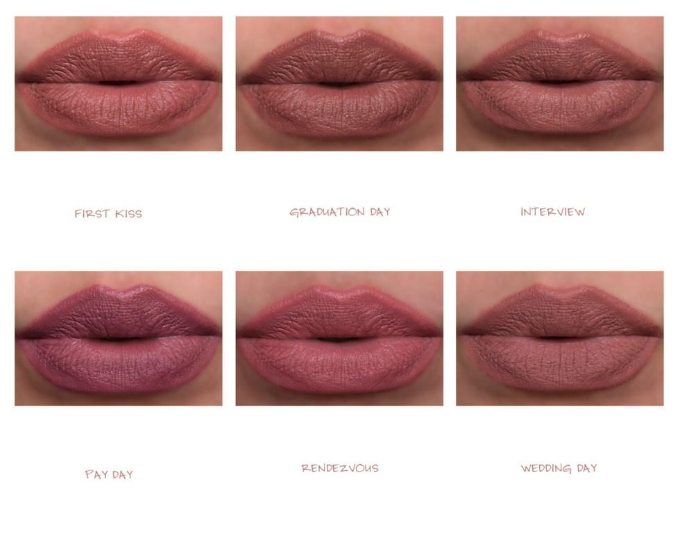 Huda Beauty Power Bullet Matte Lipstick swatches
