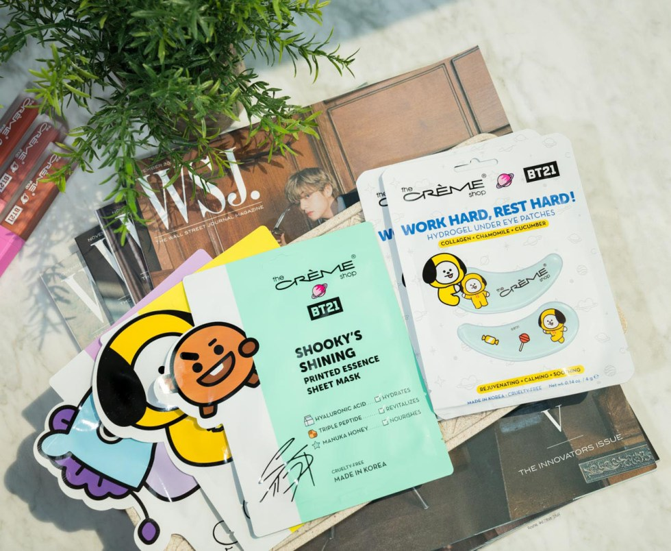 the creme shop bt21 Printed Essence Sheet Masks and Hydrogel Under Eye Patches