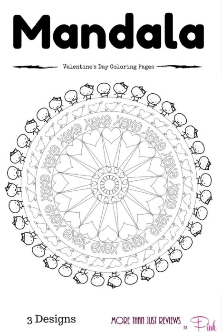 Mandala Art Inspired Valentine\'s Day Coloring Pages ⋆ by Pink