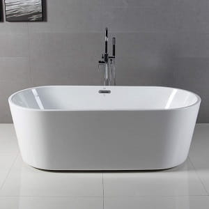 FerdY 67 Freestanding bathtub White Modern Stand Alone bathtub Soaking Bathtub
