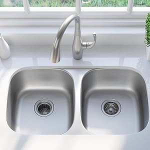 Kraus KBU22 32 inch Undermount 50 50 Double Bowl 16 gauge Stainless Steel Kitchen Sink