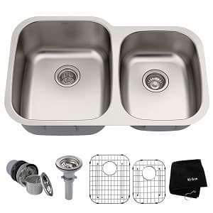 Kraus KBU24 32 inch Undermount 60 40 Double Bowl 16 gauge Stainless Steel Kitchen Sink