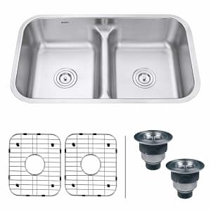 Ruvati 32-inch Low-Divide 50 50 Double Bowl Undermount 16 Gauge Stainless Steel Kitchen Sink-