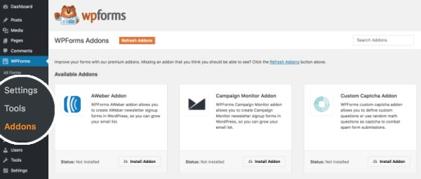 This image shows how to add a signature field addon for wpforms