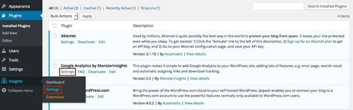 Wordpress dashboard to set up the google analytics in wordpress