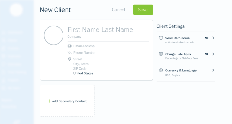Screenshot of details page on freshbooks invoicing dashboard