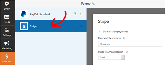 enable stripe settings on wp forms.