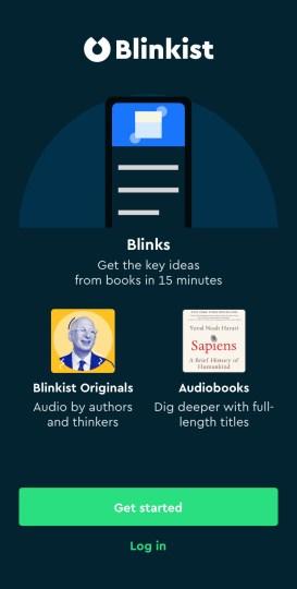 Blinkist homescreen for iPhone | blinkist review