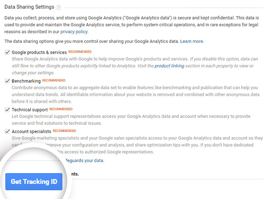 google analytics data sharing options