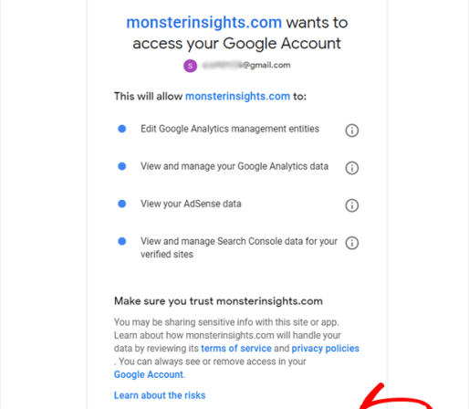 monsterinisghts google authentication