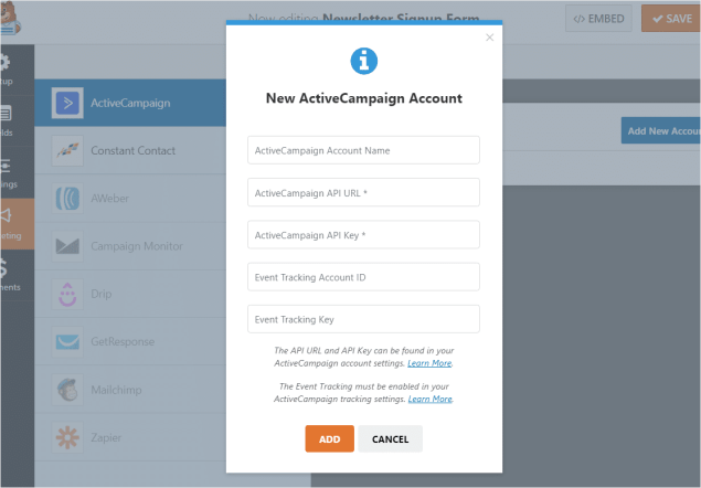 new active campaign account form | sign up