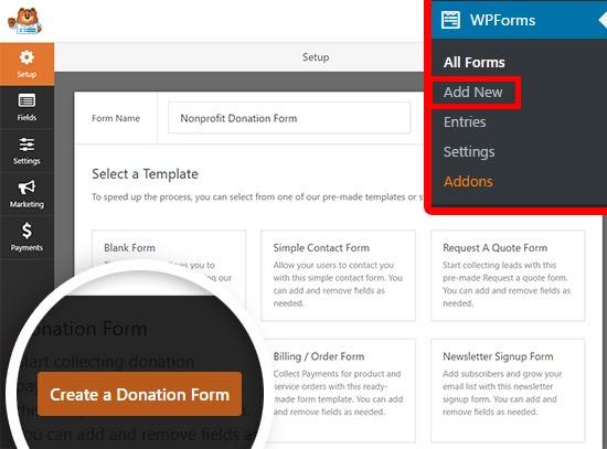 wpforms set up | add new form in wpforms