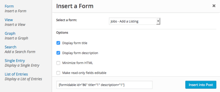 insert formidable form using short code builder