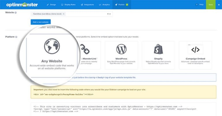 install optinmonster in non-wordpress website