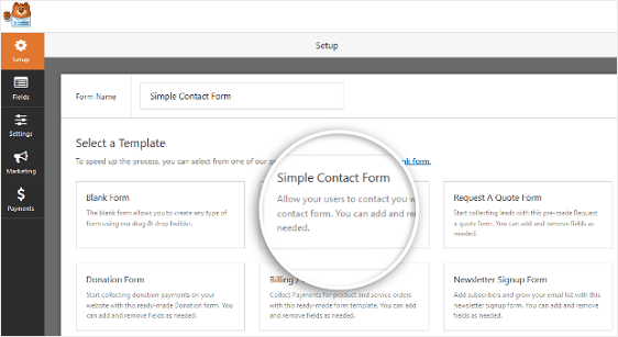install simple contact forms in wordpress