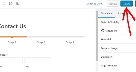 publish multipage form on wordpress