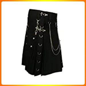 Black-Fashion-Gothic-Kilt-With-Silver-Chains