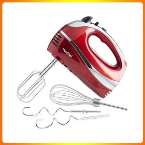 VonShef-BLUE-250W-Handheld-Mixer-Whisk-With-Chrome-Beater,-Dough-Hook