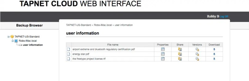 tapnet-web-interface