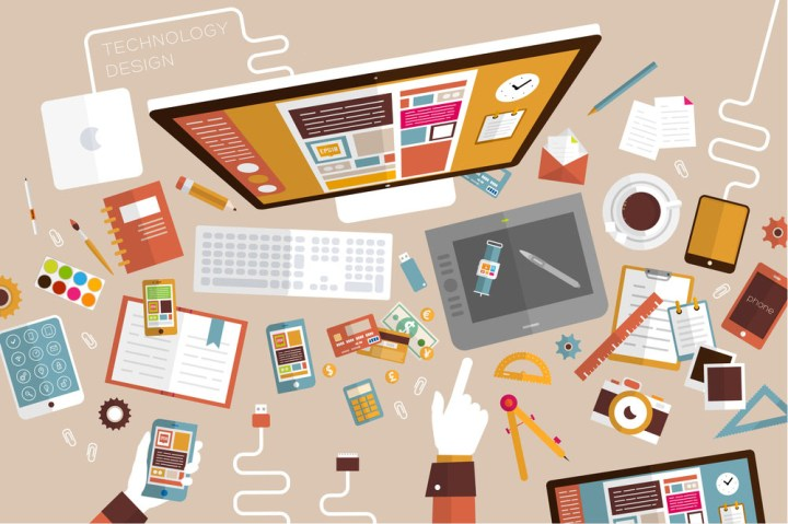 Set of Flat Design Icons. Mobile Phones, Tablet PC, Marketing Te