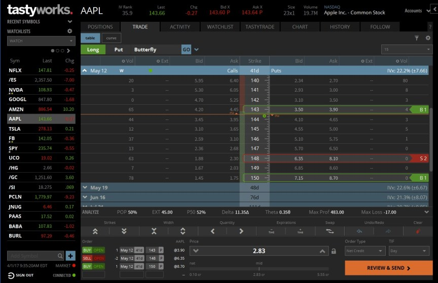 tastyworks screenshot complex options setup