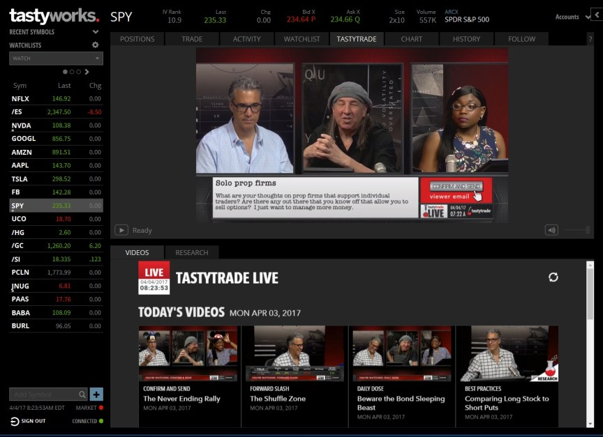 tastytrade live screenshot
