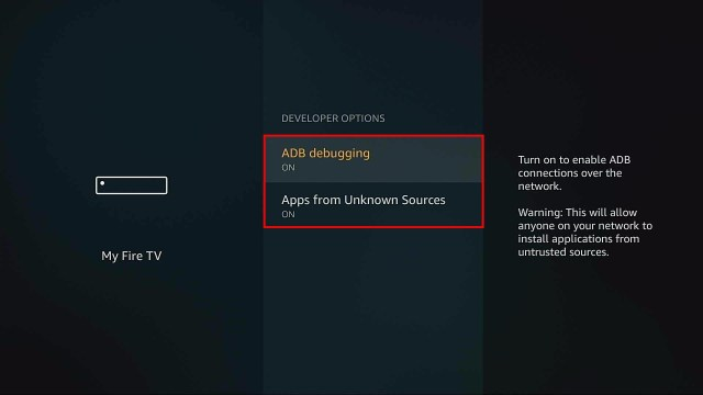 firestick turn on apps from unknown sources and adb debugging