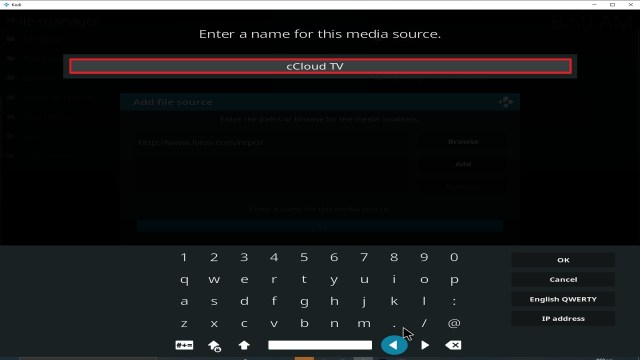 Step 12 Installing cCloud TV addon on Kodi