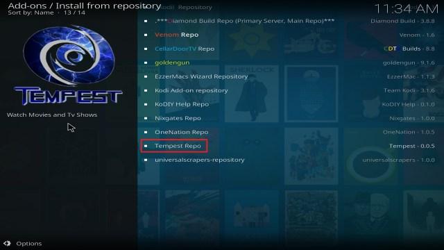 Step 20 Installing Tempest on Kodi