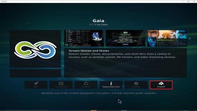 Step 23 Installing Gaia addon on Kodi