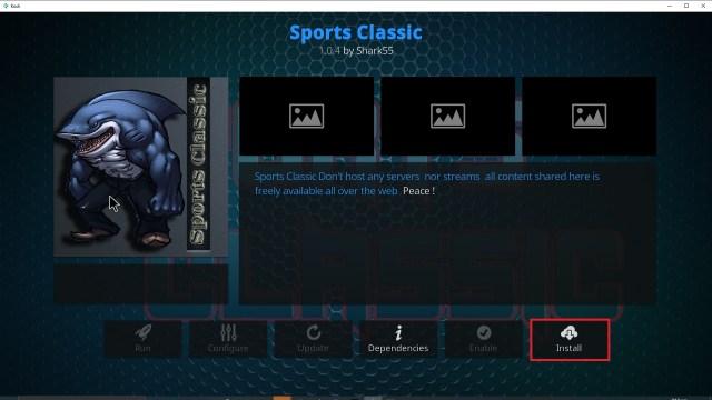 Step 23 Installing Sports Classic Kodi