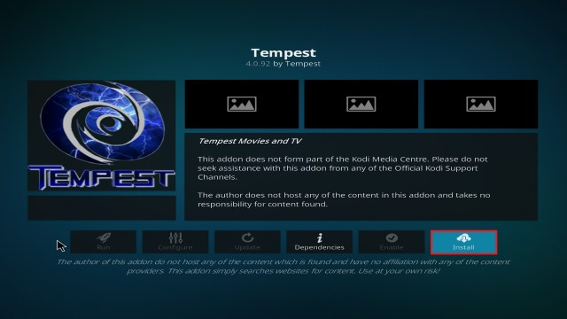 Step 23 Installing Tempest on Kodi