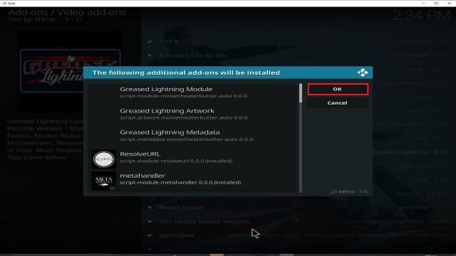 Step 24 Installing Grease Lightning addon on Kodi