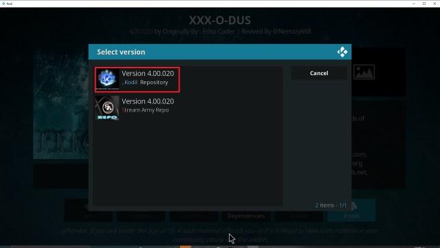 Step 24 Installing XXX-o-DUS redux addon on Kodi