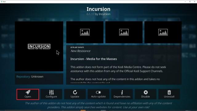 Step 26 Installing Incursion addon on Kodi