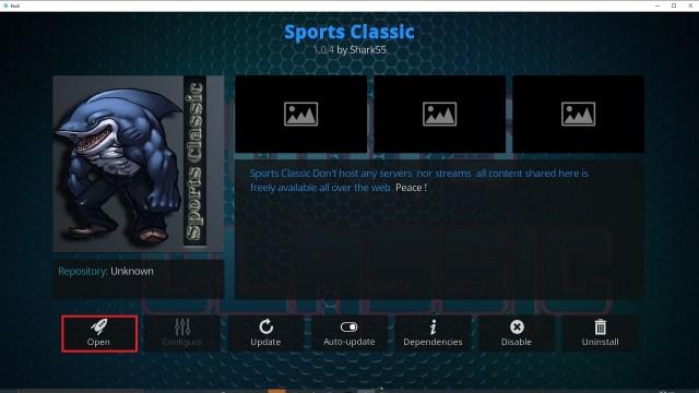 Step 26 Installing Sports Classic Kodi