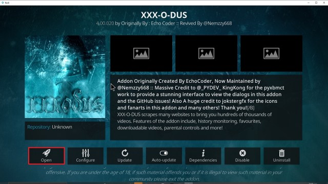 Step 27 Installing XXX-o-DUS redux addon on Kodi