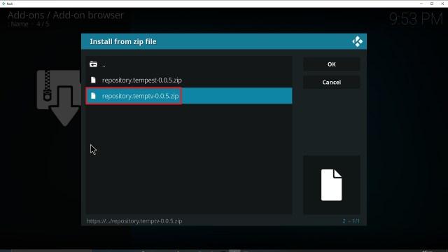 Step 18 Installing TempTV Kodi addon on Kodi