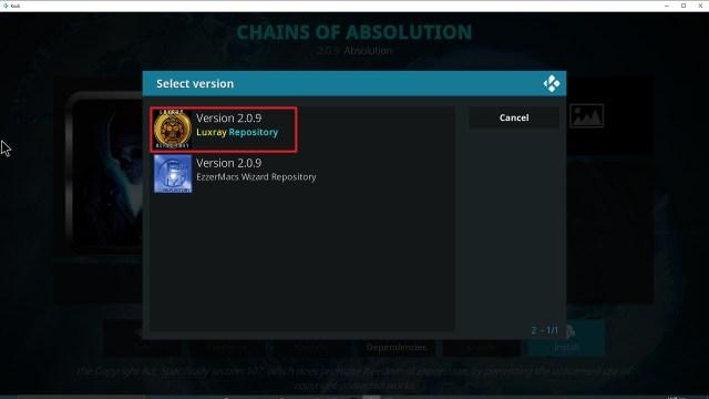 Step 24 Installing Chains of Absolution Kodi addon on Kodi