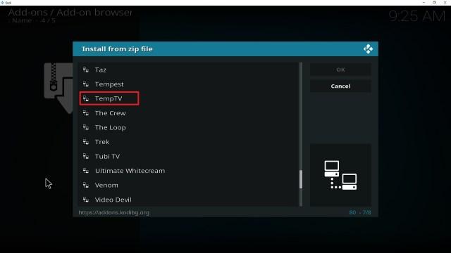 Step 17 Installing Temptv addon on Kodi
