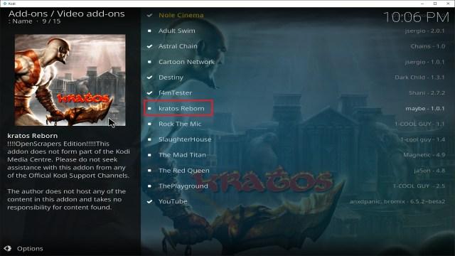 Step 22 Installing Kratos Reborn addon on Kodi