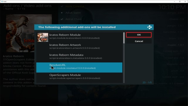 Step 25 Installing Kratos Reborn addon on Kodi