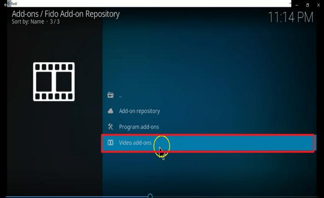 Step 22 Install fido kodi addon