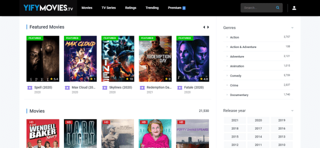 Watch Yify TV Movies Section