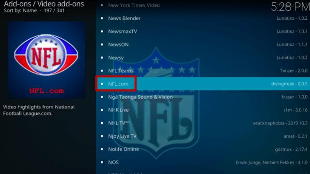 Install NFL.com Kodi Addon Step 5