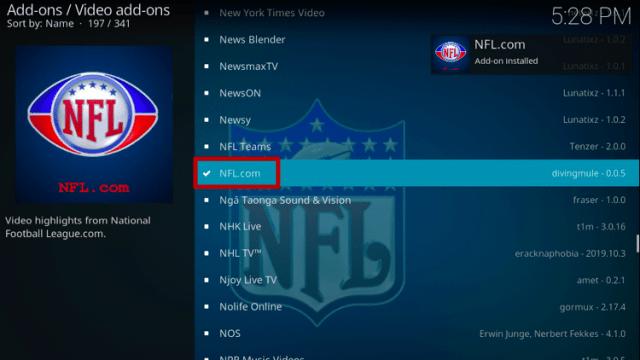 Install NFL.com Kodi Addon Step 8